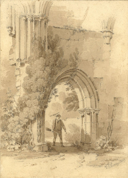 Paul Sandby Munn AOWS, Bayham Abbey, Sussex - Original 1809 watercolour painting