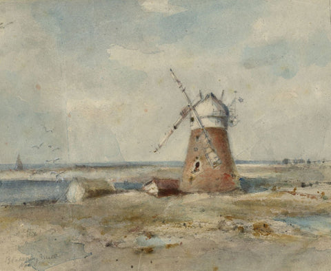 Arthur E. Davies RBA RCA, Blakeney Windmill, Norfolk - 1931 watercolour painting