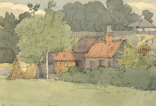 W. Allcot, Kentish Weatherboard Farm Buildings - 1850s watercolour painting