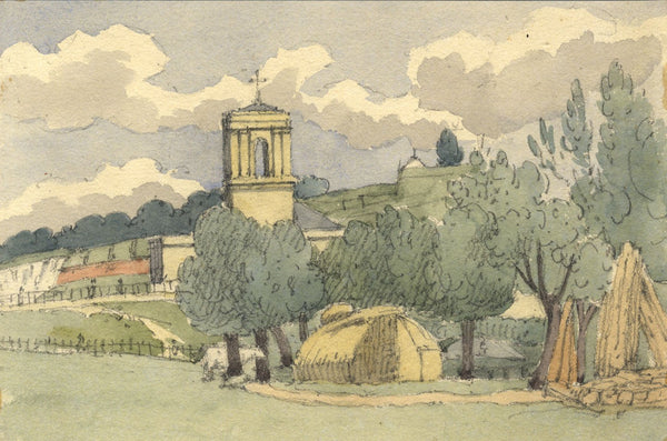 W. Allcot, View with St John the Divine Church, Chatham, Kent -1850s watercolour