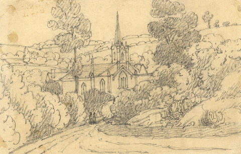 W. Allcot, Church in a Landscape - Original 1850s graphite drawing