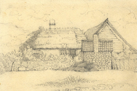 W. Allcot, Thatched Cottage Study - Original 1850s graphite drawing