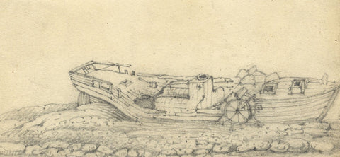 W. Allcot, Beached Wooden Paddle Boat - Original 1850s graphite drawing