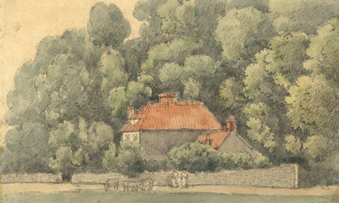 W. Allcot, Rural House with Figures - Original 1850s watercolour painting