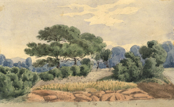 W. Allcot, Landscape View with Dry Stone Wall - 1850s watercolour painting