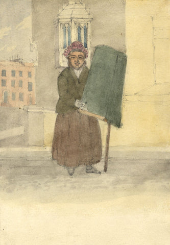 W. Allcot, Figure in Street outside Church Building - 1850s watercolour painting