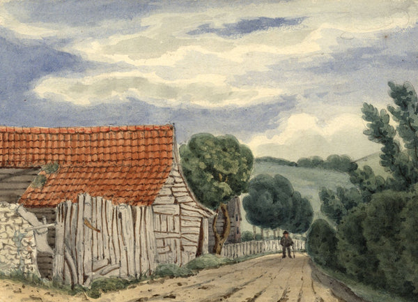 W. Allcot, Figure, Chatham Hill, Kent - Original 1850s watercolour painting