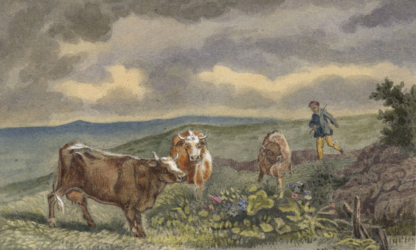 W. Allcot, Farmer and his Cows - Original 1850s watercolour painting