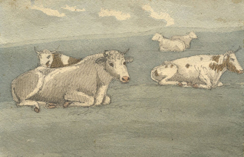 W. Allcot, Resting Cows from Nature - Original 1850s watercolour painting