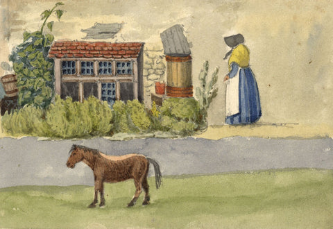 W. Allcot, Rural Scene with Woman & Pony - Original 1850s watercolour painting