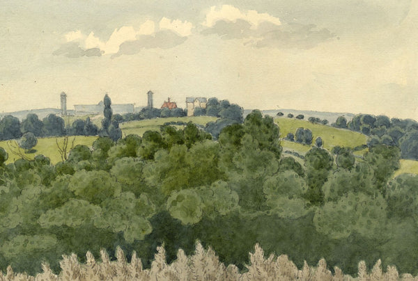 W. Allcot, Extensive Landscape with Mill Chimneys - 1850s watercolour painting