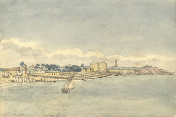 W. Allcot, Walton-on-the-Naze from the Water, Essex - 1855 watercolour painting