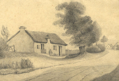 W. Allcot, Roadside Cottage with Resting Traveller - 1850s graphite drawing