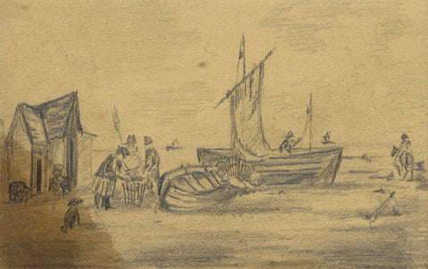 William Burgess of Dover, Fishermen Unloading Catch - Early 19th-century drawing