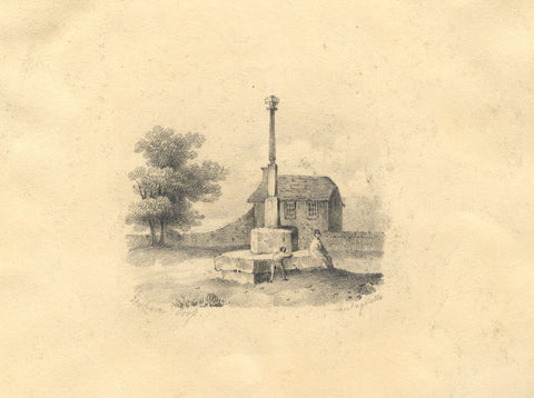 Ensham Cross, Eynsham, Oxfordshire -Original early 19th-century graphite drawing
