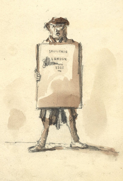 F. Dimier, London Street Crier with Sandwich Board - 1860 watercolour painting