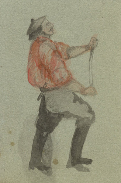 Continental Man in Apron - Original 19th-century watercolour painting
