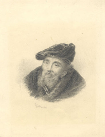 H.O. Collins, Bearded Man in Velvet Cap - Original 1836 graphite drawing