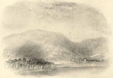 John Rawson Walker, Lake Landscape - Original 19th-century charcoal drawing