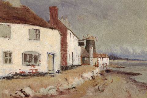 Coastal Cottages with Windmill - Original late 19th-century watercolour painting