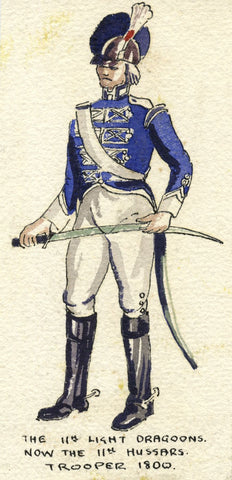 British Army Uniform: 11th Dragoons, Trooper, 1800 - Early C20th watercolour