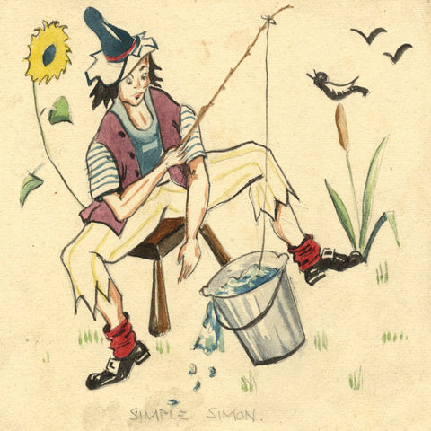 Nursery Rhyme Character: Simple Simon - Early 20th-century watercolour painting
