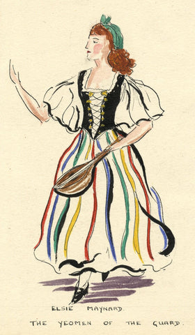 Gilbert & Sullivan 'Yeomen of the Guard' Elsie Maynard - Early C20th watercolour
