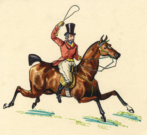 Horse & Gentleman Rider - early 20th-century watercolour painting