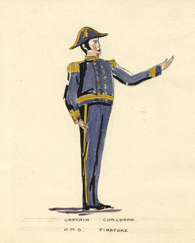 Gilbert & Sullivan 'HMS Pinafore': Captain Corcoran - Early C20th watercolour