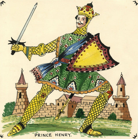 Prince Henry in Chain Mail - Original early 20th-century watercolour painting