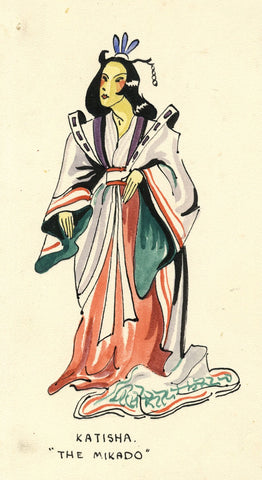 Gilbert & Sullivan Opera 'The Mikado' Katisha - Early 20th-century watercolour