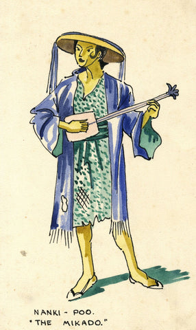 Gilbert & Sullivan Opera 'The Mikado' Nanki-Poo - Early 20th-century watercolour