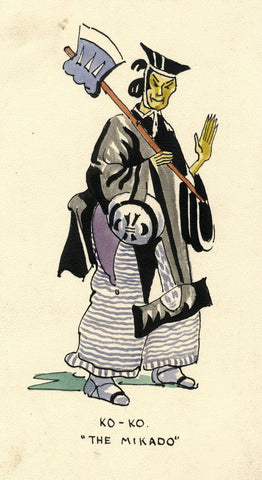 Gilbert & Sullivan Opera 'The Mikado' Ko-Ko - Early 20th-century watercolour