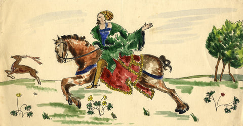 Medieval Man on Horseback Tile Design - Early 20th-century watercolour painting
