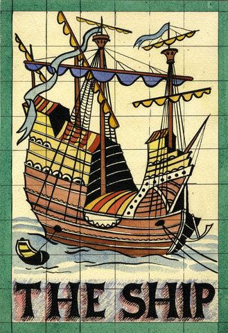 Pub Sign Design: The Ship - Early 20th-century watercolour painting