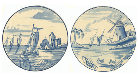 Two Dutch Delft Tile Designs - Early 20th-century watercolour painting