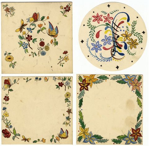 Set of Four Botanical Flower Tile Designs - Early C20th watercolour paintings