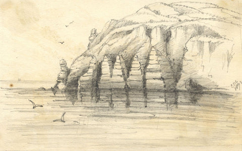 C.A. Collis, Chalk Cliffs, Beer and Seaton - Original 1872 graphite drawing