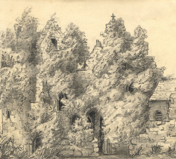 C.A. Collis, Compton Castle Torquay - Original mid-19th-century graphite drawing