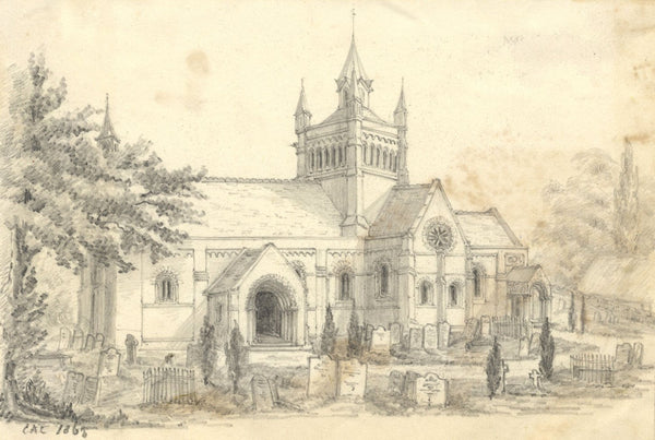 C.A. Collis, St Mildreds Church Whippingham Isle of Wight -1865 graphite drawing