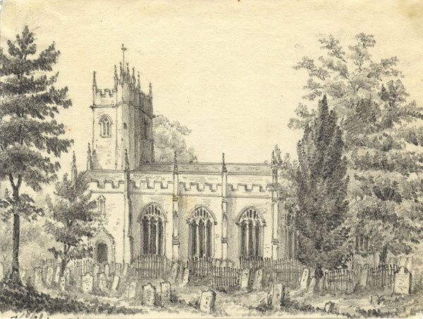 C.A. Collis, St Gregory's Church, Dawlish - Original 1859 graphite drawing