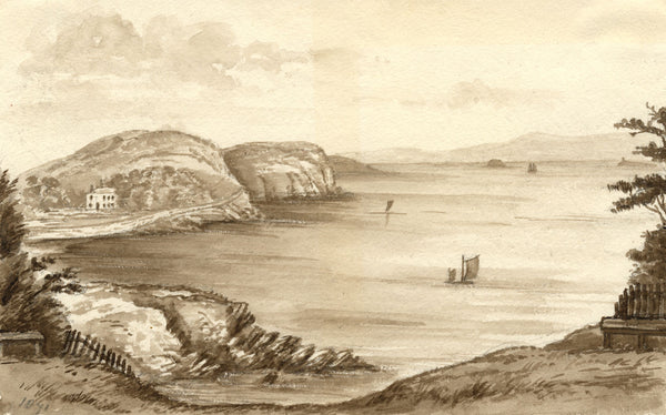 C.A. Collis, View from Pier Beach, Clevedon, Bristol - 1871 watercolour painting