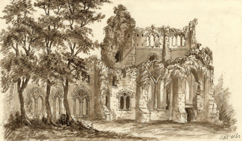 C.A. Collis, Netley Abbey, Hampshire - Original 1862 watercolour painting