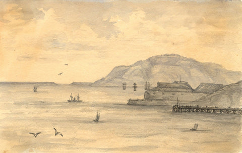 C.A. Collis, Nothe Fort, Weymouth - Original 19th-century watercolour painting