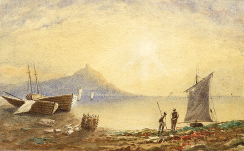 C.A. Collis, Seascape with Fishermen - mid-19th-century watercolour painting