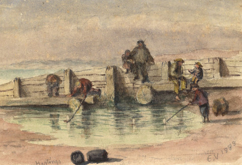 E. Venis, Children Fishing off the Groyne, Hastings - 1888 watercolour painting