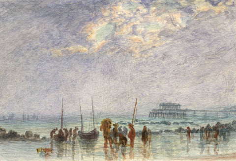 E. Venis, Fishermen Unloading Catch at Hastings - Late 19th-century watercolour