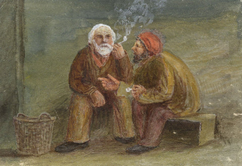 E. Venis, Resting Fishermen with Pipes, Hastings - Late 19th-century watercolour