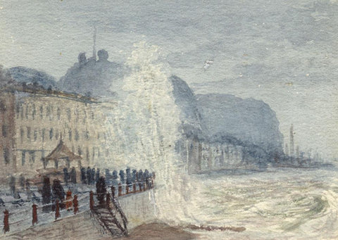 E. Venis, Storm Waves, East Parade Beach Hastings -Late 19th-century watercolour