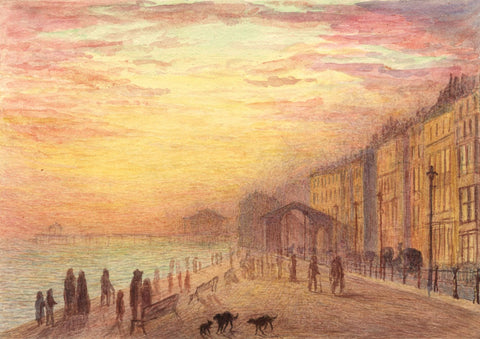 E. Venis, St Leonards Arch at Sunset, Hastings - Late 19th-century watercolour
